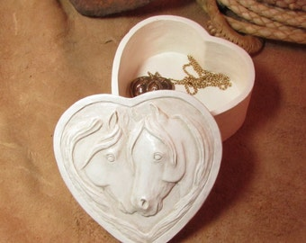 Two  Horses on a  Heart Shaped Keepsake or Trinket Box, A perfect place for all your little treasures.