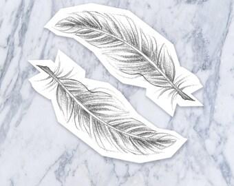 Hand Drawn Feather Illustration temporary fake tattoo black simple nature bird Coachella hippie