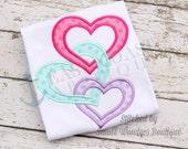INTERLOCKING HEARTS machine embroidery design