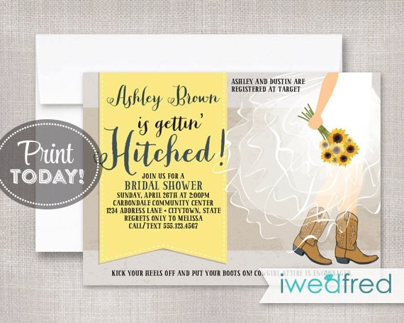 Hitched Wedding Invitations: Cowgirl Bridal Shower Invitation Gettin' Hitched Bridal