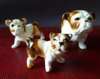 Vintage Bone China Bull Dog Family Figurine Set
