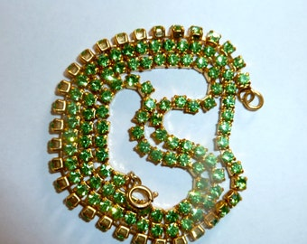 1950s Green Rhinestone Necklace