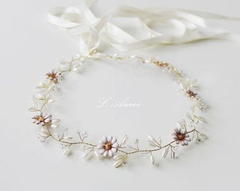BIG SALE- Glod Bridal Hair Vine Tiara, Wedding Hair Accessories, Honey Golden Color hair vine with small ivory flowers