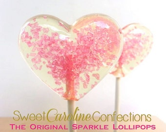 Hot Pink Lollipops, Pink Lollipops, Heart Lollipops, Pink Wedding Favor, Heart Candy, Lollipops, Sweet Caroline Confections-Set of 6