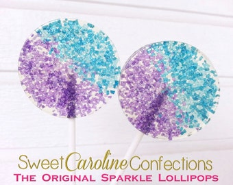 Blue and Purple Wedding Favors, Hard Candy Lollipop, Candy Lollipop, Sparkle Lollipops, Lollipops, Sweet Caroline Confections-Set of Six