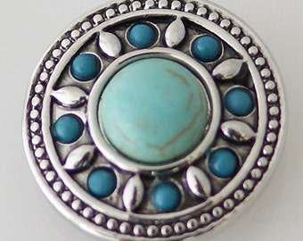 Turquoise Silver ~ Snap It SKB5221   Jewelry  Noosa Chunk Snap Popper Interchangeable 18mm 20mm snap