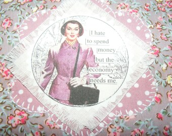 Coin Purse / Mobile Pouch / Wallet Mini Make up Bag Handmade Retro Vintage Housewife