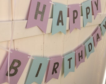 Frozen inspired Happy Birthday Banner - Teal and purple