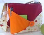 Orange Red Commuter Bag - Ladies Purse Handbag Tablet Carryall - Female Lunchbox Lunch bag -Upcycled Recycled Vintage - Stars - Gift for her
