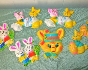 Vtg. Plastic Easter Bunny Cake Toppers - 7 Pcs.