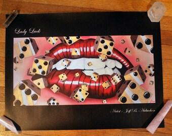 Lady Luck. vinyl print. 18x24.Gambling Print. Casino Print.