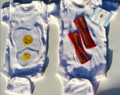 Bacon and Eggs Baby Bodysuits, Twin Bodysuits