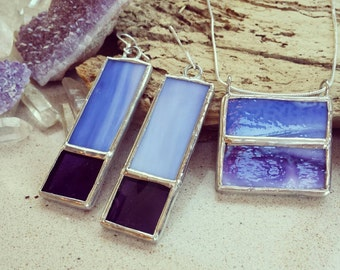 Rectangular Stained Glass Necklace and Earring Set