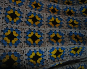 Granny Square Blanket 70'' x 70''. Made to Order.