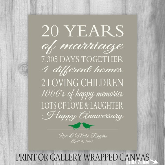 20th Wedding Anniversary Gift Ideas For Wife: 20 Year Anniversary Gift 20th Anniversary Art Print