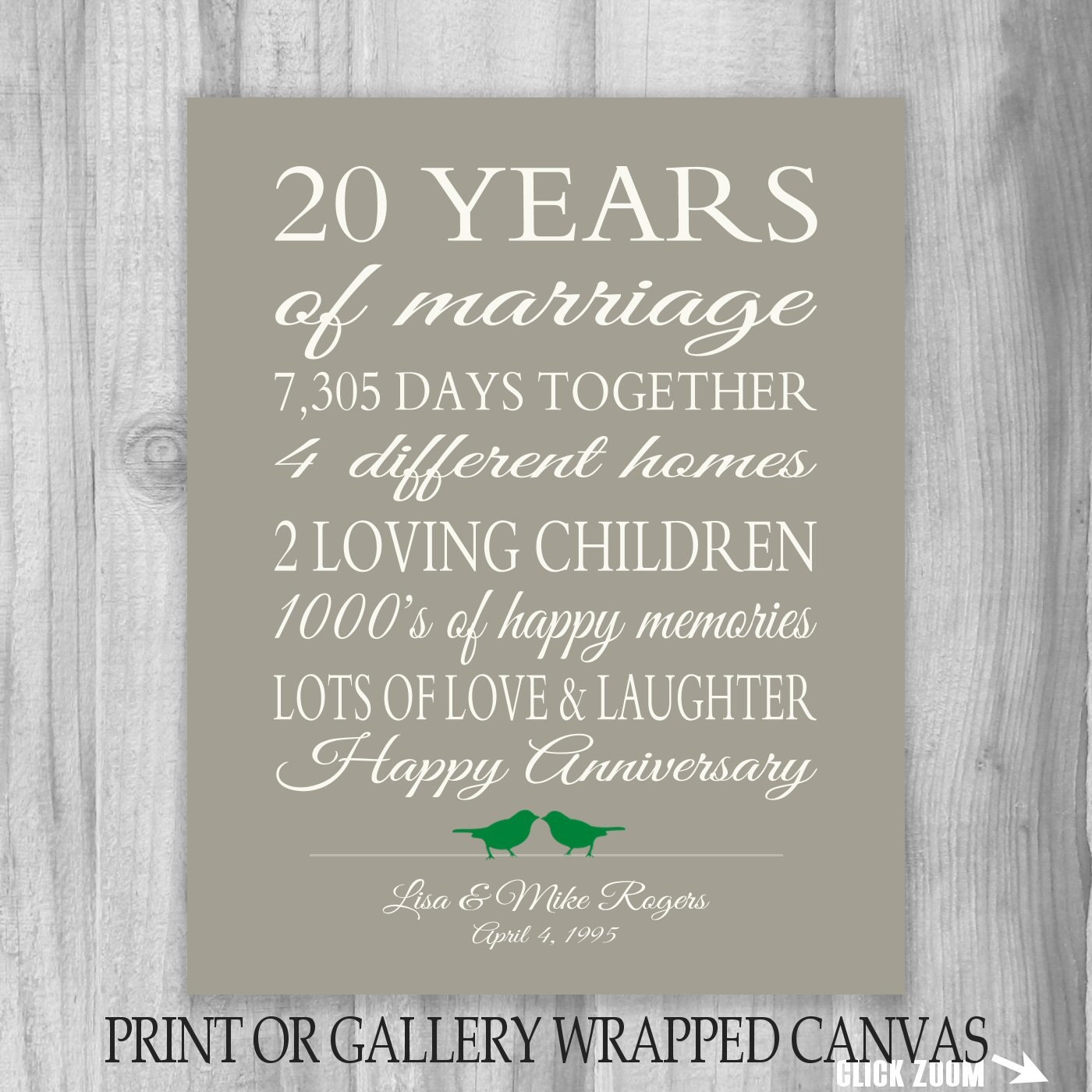 20 Year Anniversary Gift 20th Anniversary Art by PrintsbyChristine