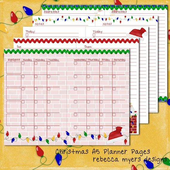 Items similar to christmas santa filofax franklin covey for Franklin covey planner templates
