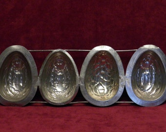 antique chocolate mold 4 x half Easter eggs