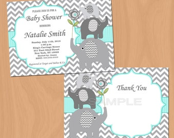 Baby Shower Invitations Elephant Baby Shower Invites Elephant Baby Shower Invitation (01b) - Free Thank You Card - editable text - download