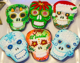 One dozen Christmas skull cookies