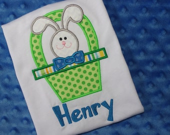 Easter Bunny in Basket Appliquéd Shirt- Personalized