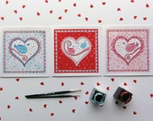 Valentine Square Greeting Card Set. Romantic birds on a big heart shape watercolor card. Wedding anniversary card. Art Collectibles.