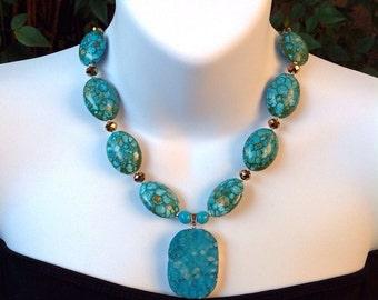 Turquoise necklace.  Mosaic turquoise necklace. Chunky turquoise necklace. Druzy pendant.