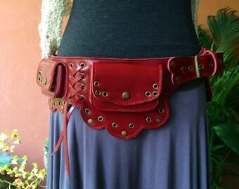 Red Leather Utility Belt Bag, Steampunk, Travel Belt, Festival Fanny Pack, Purse Belt, Hip Bag, Money Belt Pouch, Gift for Her - The Lotus