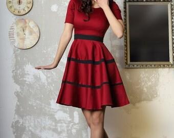 Flared marsala dress,cotton, office