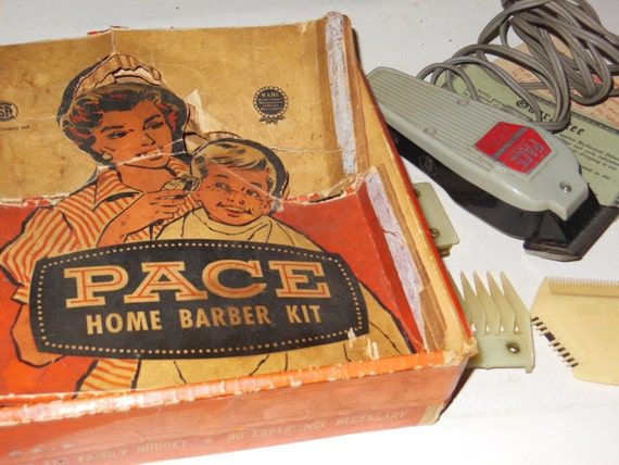 Barber Kit : Antique PACE Home Barber Kit Electric Clippers and Accessories