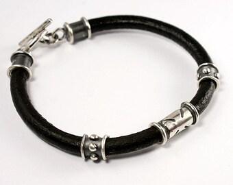 Crusader,Natural leather, Sterling Silver Bracelet - Mens Bracelet - Rustic Bracelet - Rocker Jewelry
