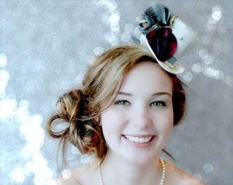 Mini Top Hat , Victorian Mini Top Hat , Fascinator, Wedding Mini Hat , Tea Party Hat , Bridal Shower