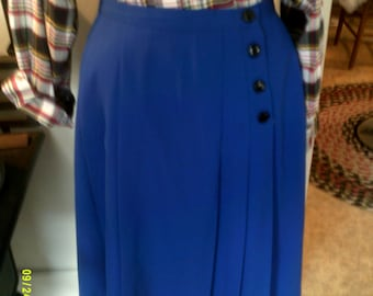 Womans Vintage Wool Pleated Skirt, size 12, USA, Pleated Skirts 12, Career Skirts 12, Royal Blue Skirt 12, Wool Skirts 12, Wide Pleat Skirt