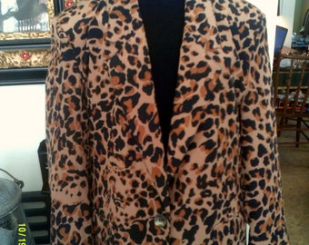 Womens Vintage Silk Leopard Print Long Jacket Blazer, size Med. 8 to 12, by Cocoon, Silk Blazer 12, Womens Silk Jacket, Leopard Print Jacket