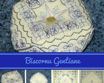 Biscornu Gentiane - embroidery pattern