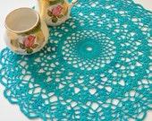 "Handmade 14"" Lace Cotton Thread Crochet Doily Peacock Blue Home Decor Cottage Shabby Chic Victorian Centerpiece"