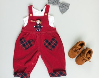 Little Girl Applique Doll Head Vintage 80's Raspberry Red Corduroy Overalls Pants / Plaid Heart Pockets / 12 Months Toddler Baby Girl