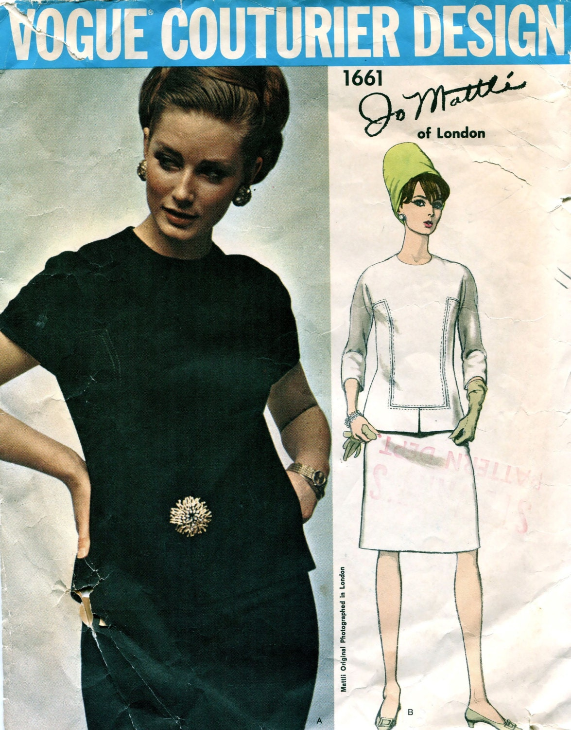 1960s Jo Mattli two-piece dress pattern feat. Tania Mallet, Vogue Couturier Design 1661
