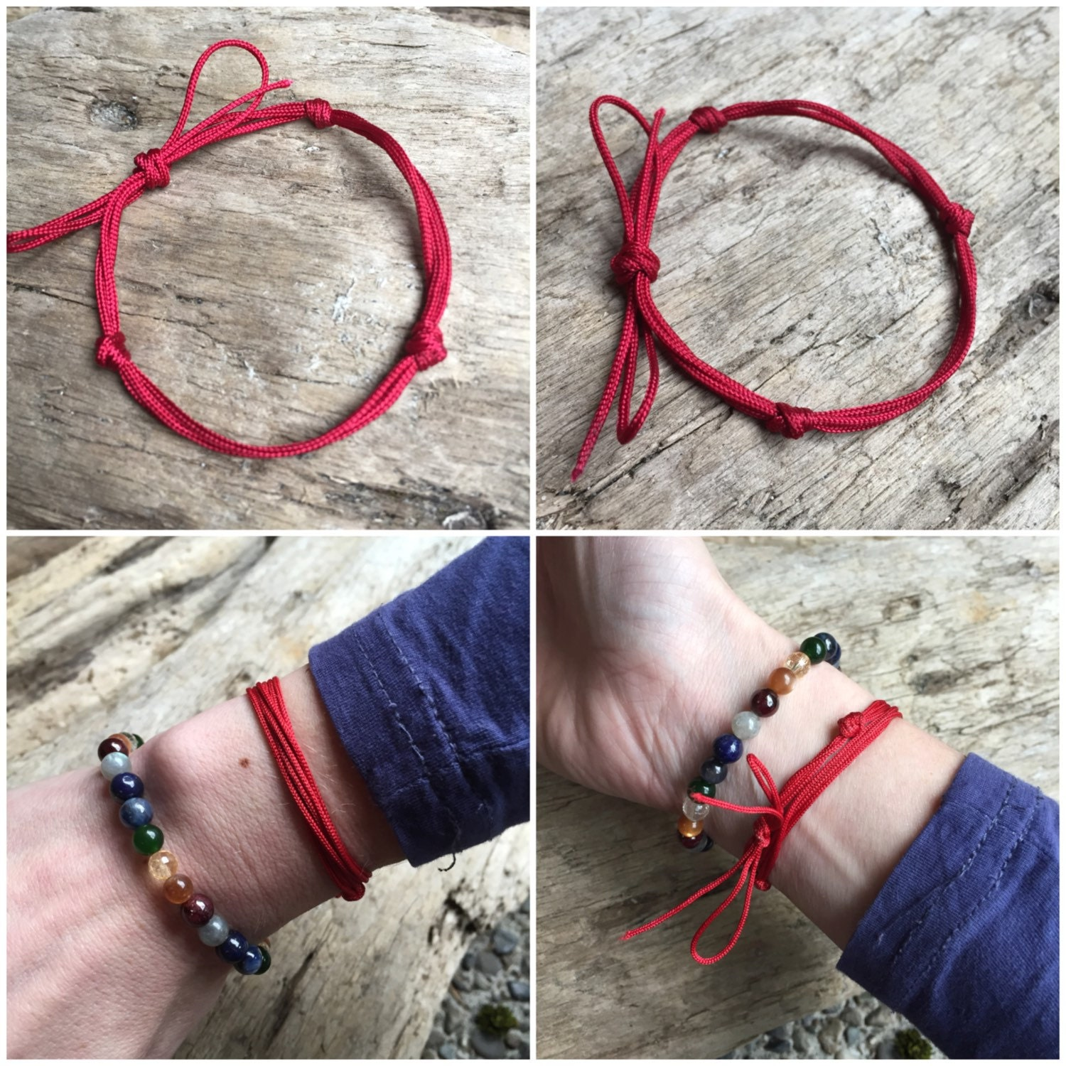 Red String Kabbalah Bracelet Buddhist Three Jewel Red Tie Yoga
