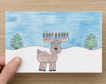Happy Hanukkah Reindeer Card