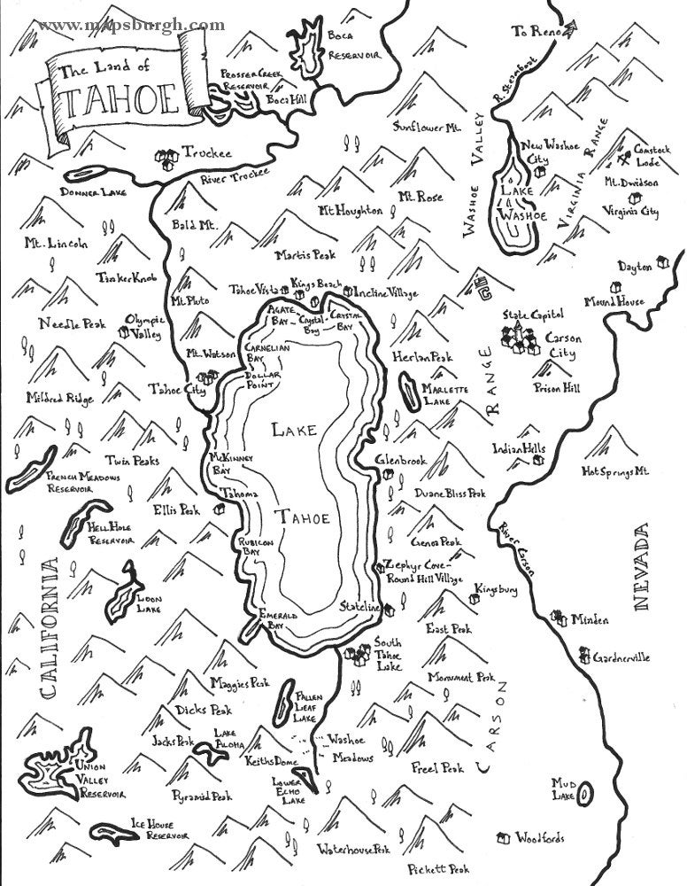 Fantasy Maps Of California Cities Lake Tahoe San Diego - Map of california cities