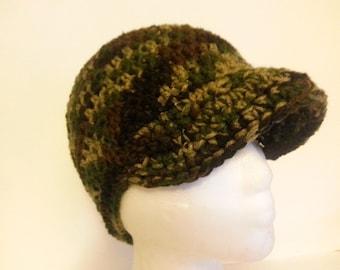 Camouflage Brim Beanie Crochet Hat