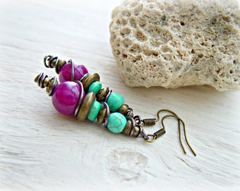 Dangle & Drop Earrings / Tribal Turquoise Earrings / Boho Hippie Earrings / Turquoise Jewelry / Boho Earrings / Boho Jewelry