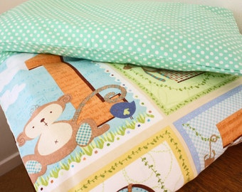 Monkey duvet cover and pillowcase, bedding set, toddler bedding, nursery bedding, green, 100% cotton