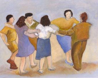 oil on paper, Judaica Art, Messianic art, dance painting, Israeli art, wall art, original oil painting, Israeli dance, figure painting