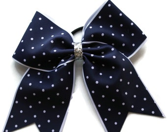 Cheer Bow,Navy Blue,White Dots