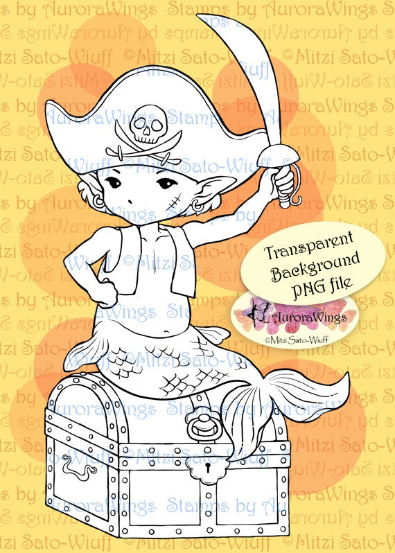 PNG Digital Stamp - Little Pirate - Merboy in Pirate Costume with Treasure Chest - Fantasy Line Art for Cards & Crafts by Mitzi Sato-Wiuff
