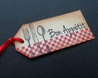 Bon Appetit Tags, Food Tags, Gift Tags, Christmas Tags, Silverware Tags