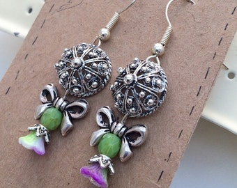 Bow green flower silver plated earrings