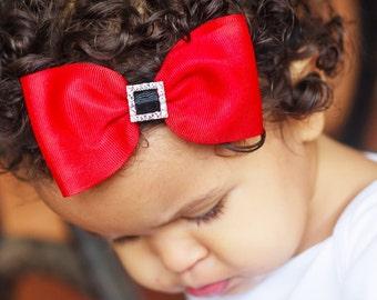 Santa Belt Headband, Santa Headband, Christmas Bow, Newborn Headband, Christmas Headband, Red Hair Bow, Flower Headband, Santa Shirt